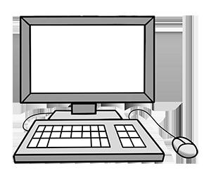 Ein Computer mit Tastatur und Maus.