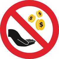 Kostenlos - offene Hand mit Geldmünzen durchgestrichen