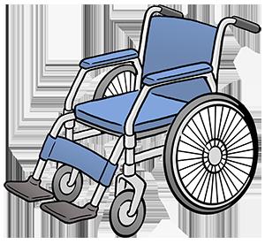 Ein Rollstuhl.