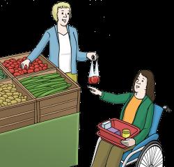Eine Frau hilft einer anderen beim Einkaufen