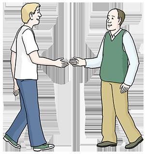 Zwei Menschen die sich zur Begrüßung die Hand geben.