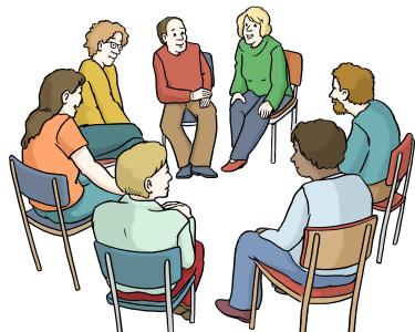 Ein Stuhlkreis mit Menschen