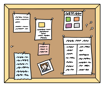 Eine Pinnwand mit verschiedenen Zetteln und Listen.