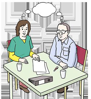 Zwei Personen sitzen an einem Tisch und haben dieselben Gedanken
