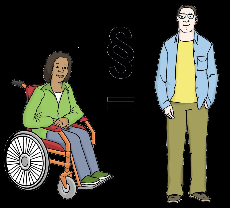 Eine Frau im Rollstuhl und ein Mann ohne Behinderung und dazwischen ein Gleichheitszeichen