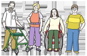 Menschen mit und ohne Behinderung zusammen.