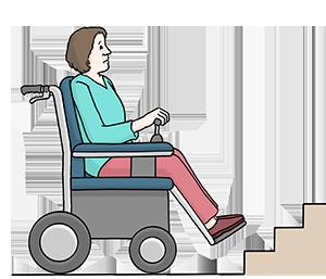 Ein Mensch im Rollstuhl steht vor einer Treppe und kommt nicht hinauf