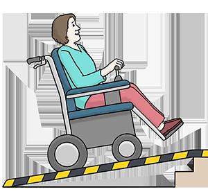 Ein Mensch im Rollstuhl fährt eine Rampe an einer Treppe hinauf