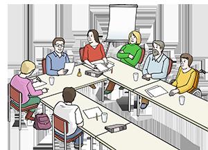 Mehrere Personen in einer Sitzung
