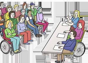 Eine Versammlung von Menschen mit und ohne Behinderung
