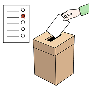 Jemand wirft einen Wahlzettel in eine Wahlurne