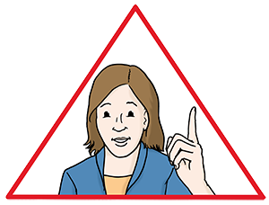 Eine Frau mit erhobenem Zeigefinger