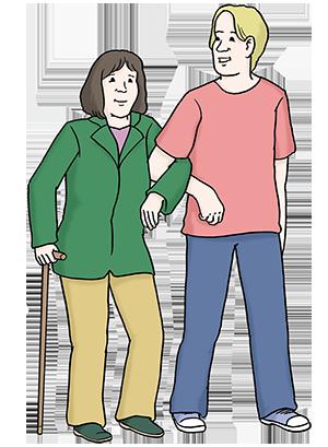 Eine Frau stützt eine andere beim Gehen