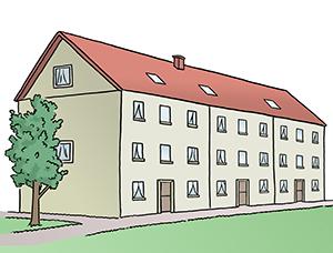 Ein Wohngebäude