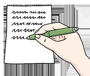 Eine Hand schreibt etwas auf ein Blatt Papier