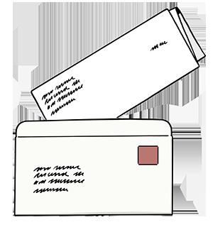 Ein Brief in einem Briefumschlag