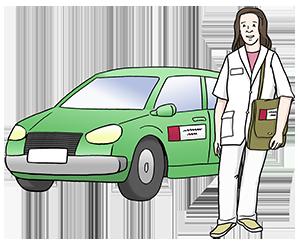 Eine Mitarbeiterin des MDK steht vor ihrem Auto