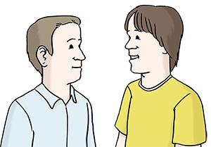 Ein Mensch redet mit einem anderen