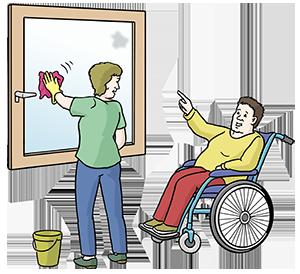 Ein Mensch mit Behinderung gibt seinem Assistenten Anweisungen beim Putzen